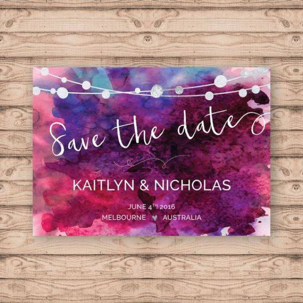 Purple Watercolor Save The Date
