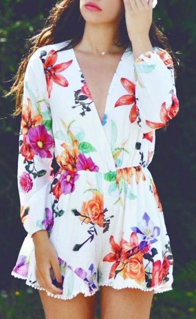 Floral romper with long sleeves