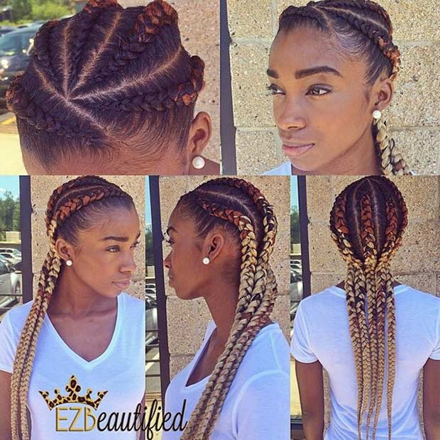 Ombre Ghana Braids for Black Women