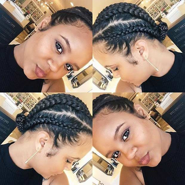 Small Ghana Braids into a Bun