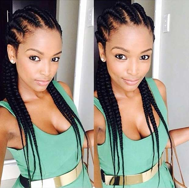 Ghana Braids Cornrows Hairstyle for Black Women