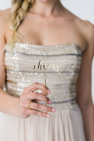 Gold cheers drink stir stick | Alexis June Weddings and @aislesociety