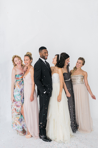 Mix and matched bridesmaids dresses | Alexis June Weddings and @aislesociety