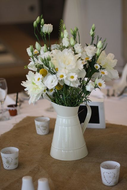 Table centerpiece with jug for rustic weddings