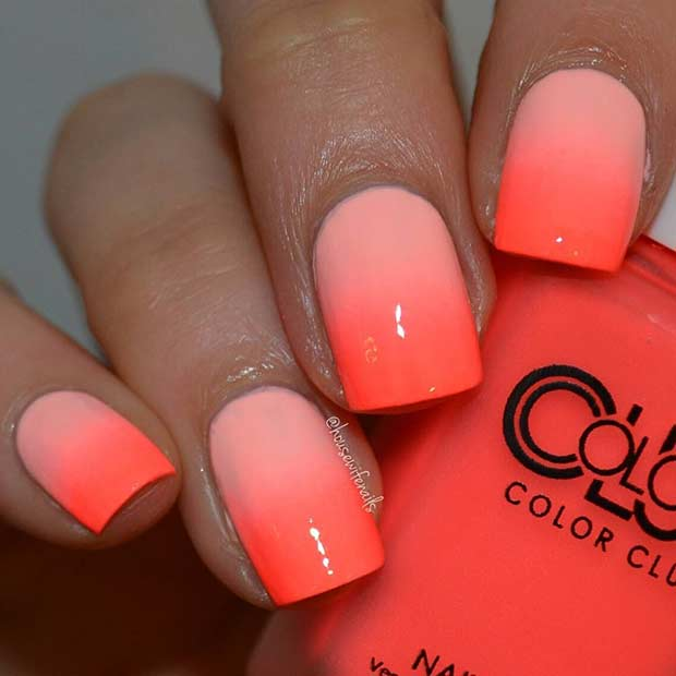 Summer Neon Orange Ombre Nails