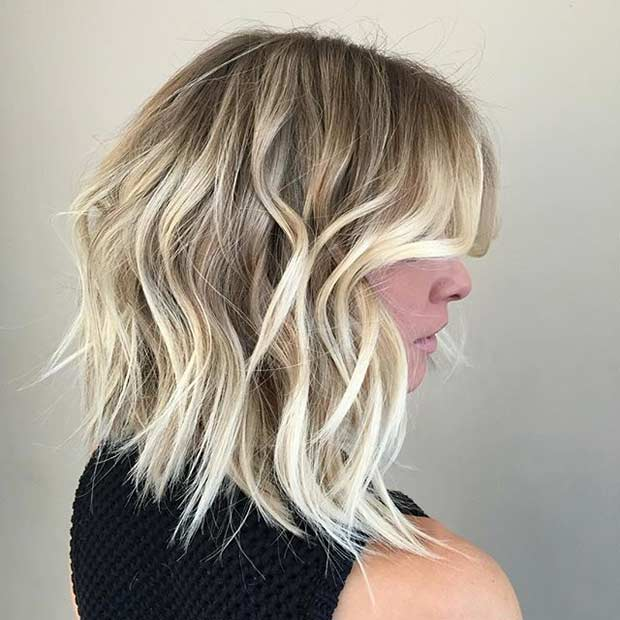 Messy Lob Haircut and Ice Blonde Balayage Highlights