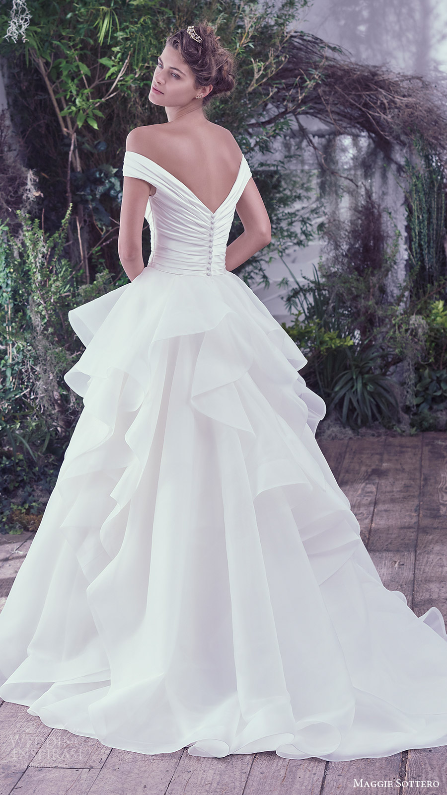 maggie sottero bridal fall 2016 off shoulder vneck ruched surplice bodice ball gown wedding dress (zulani) bv train