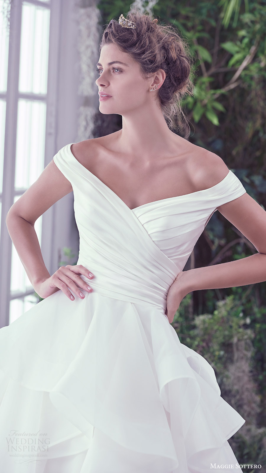 maggie sottero bridal fall 2016 off shoulder vneck ruched surplice bodice ball gown wedding dress (zulani) zfv