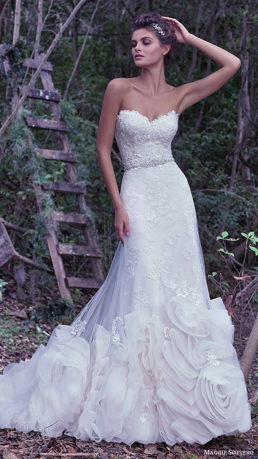 maggie sottero bridal fall 2016 strapless sweetheart lace sheath wedding dress (rosaleigh) fv overskirt