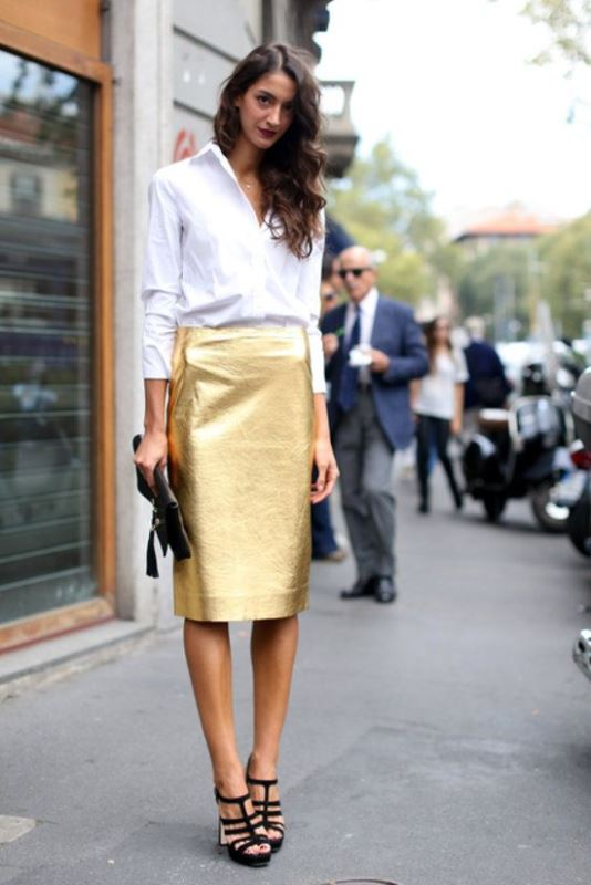 Metallic Pencil Skirt With A Classic Button Down