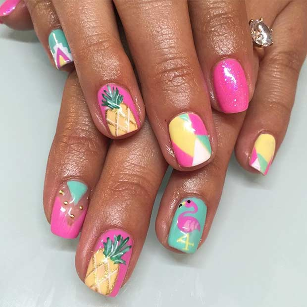 Pink and Yellow Pineapple Nails for Summer