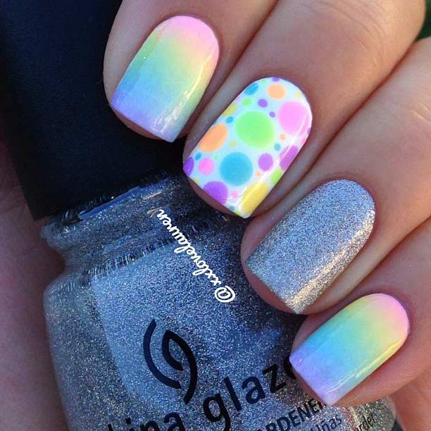 Rainbow Ombre Nail Design for Summer