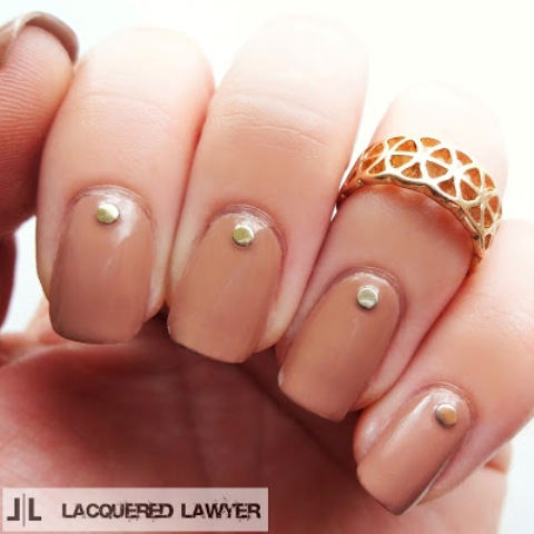 DIY Dark Tan Nails With Studs That Are Work Appropriate