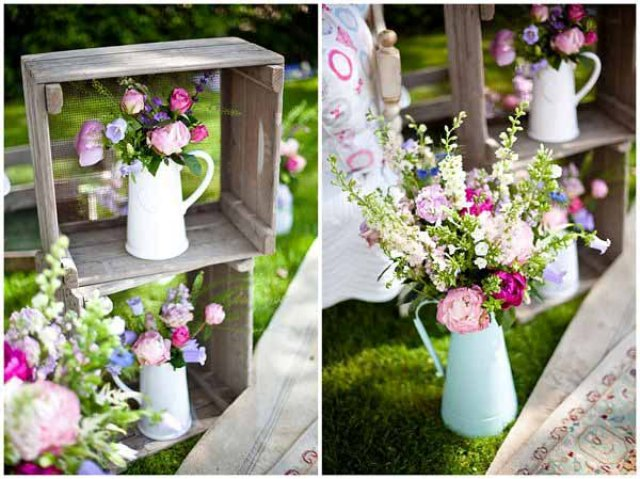 Composition with floral jugs for outdoor weddings