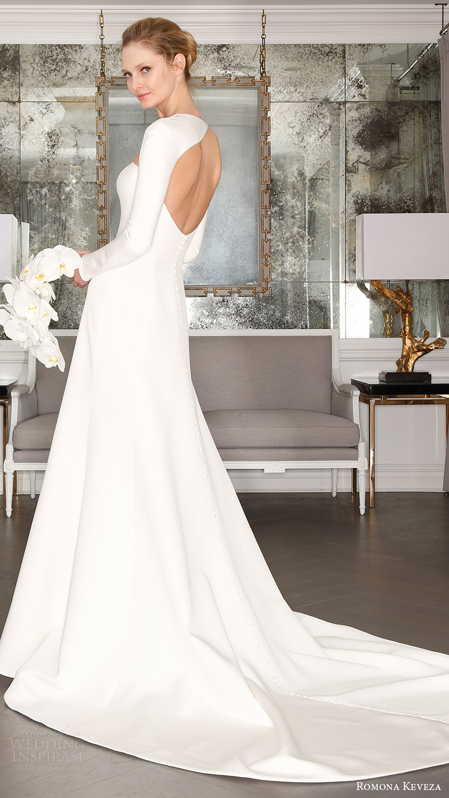 romona keveza bridal spring 2017 strapless straightacross trumpet wedding dress (rk7402) bv train optional long sleeve shrug