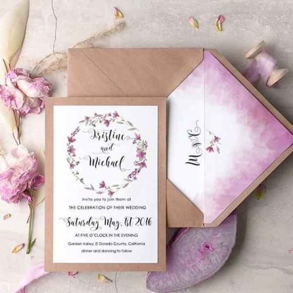 Lilac Ombre Watercolor Wedding Invitation