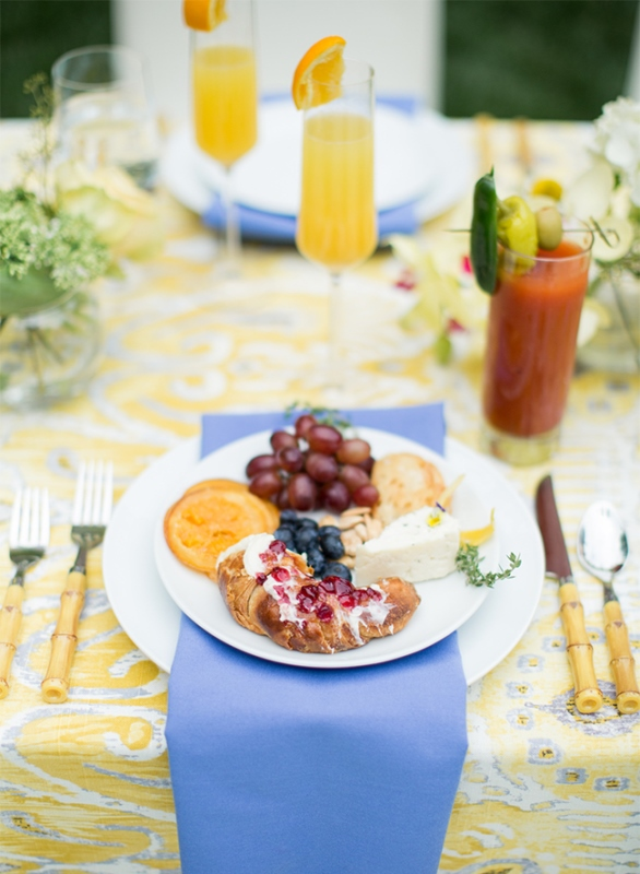Vivid Yellow And Blue Pre Wedding Brunch