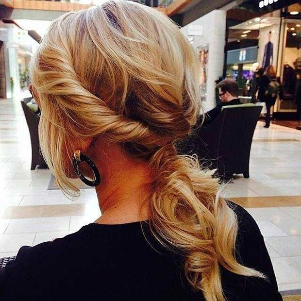 Twisted Low Ponytail Hairstyle for Mid Length Hair