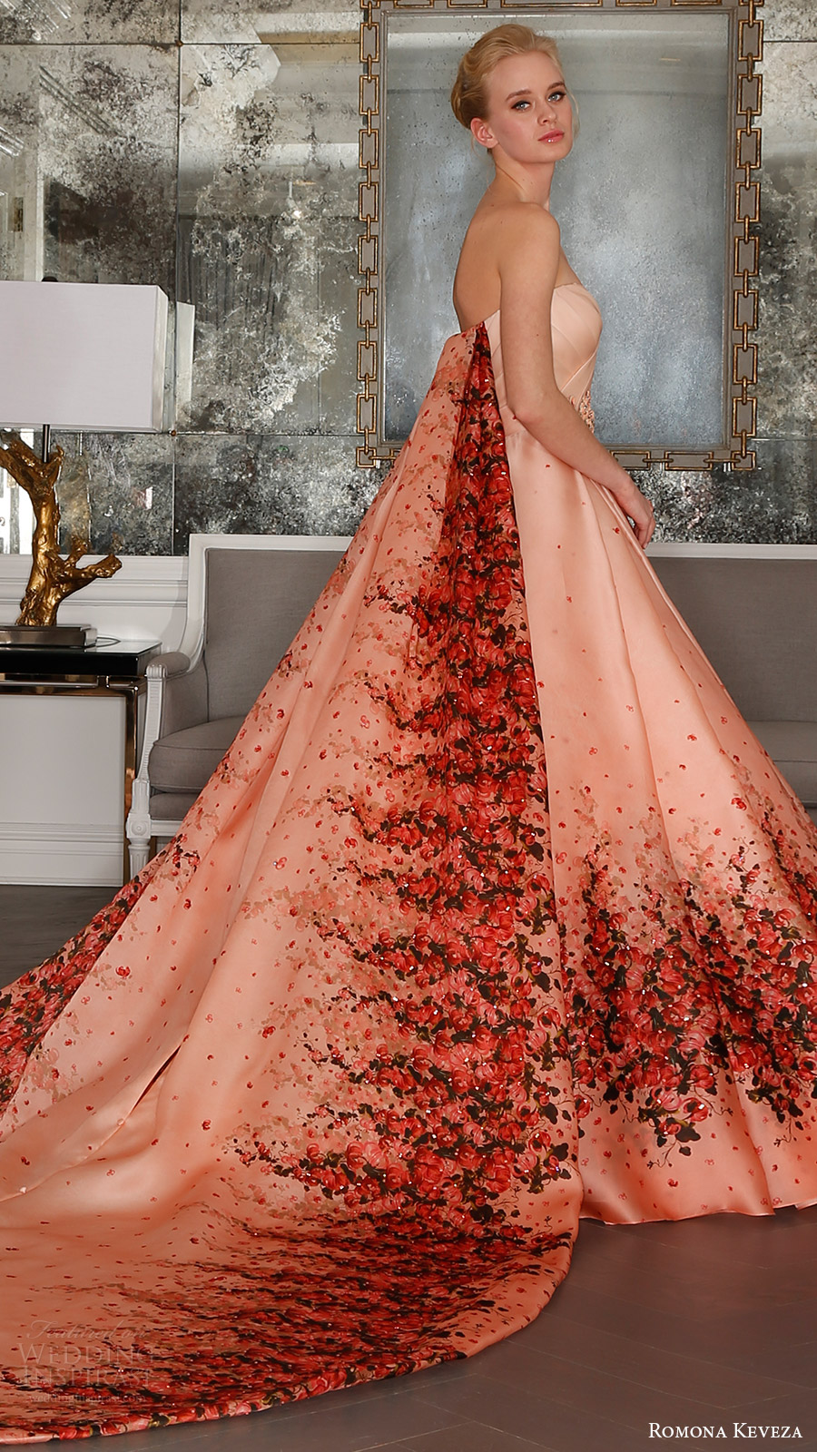 romona keveza bridal spring 2017 strapless surplice sweetheart organza ball gown wedding dress (rk7411) bv red bougainvillea print detachable cathedral train