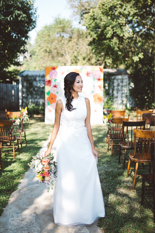 Painted wedding ceremony backdrop | Kate Rose Creative Group and Tim Waters Photography