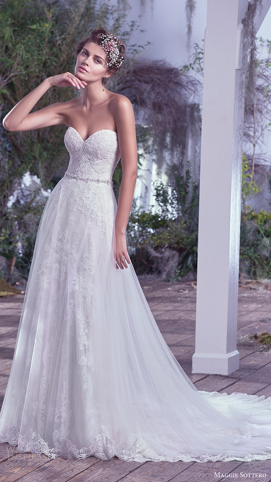 maggie sottero bridal fall 2016 strapless sweetheart lace sheath wedding dress (mirelle) mv aline overskirt