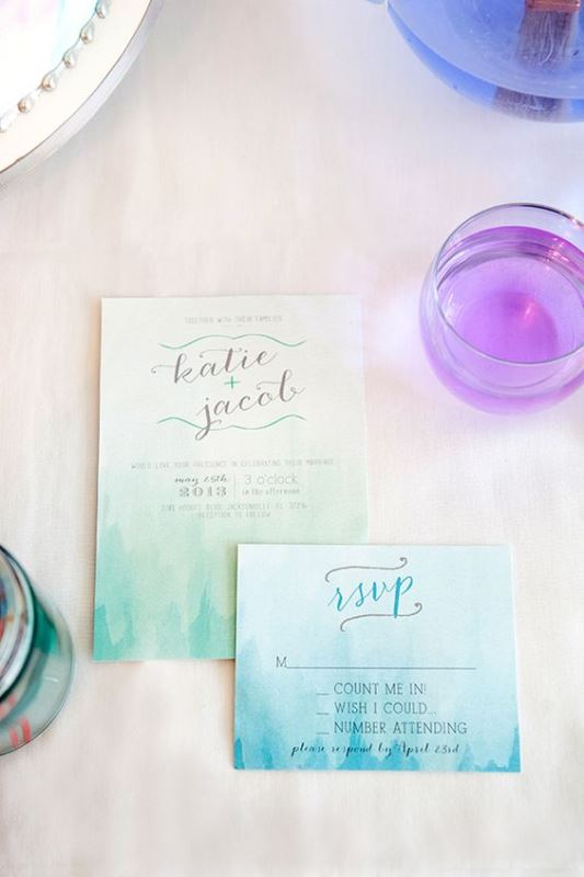 Sea Blue Watercolor Wedding Invitation
