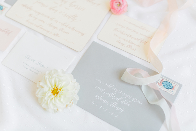Grey and ivory wedding invitations | Alexis June Weddings and @aislesociety