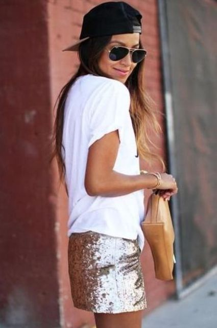 Glam look with baseball cap and sequin skirt