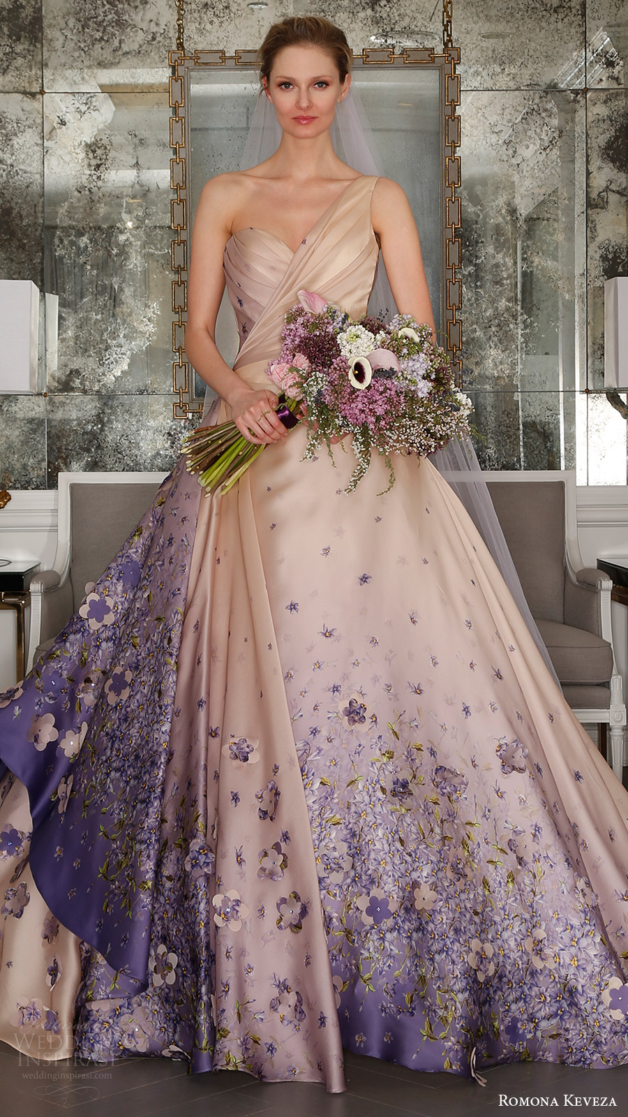 romona keveza bridal spring 2017 one shoulder sweetheart silk organza ball gown wedding dress (rk7413) mv blush color violet print