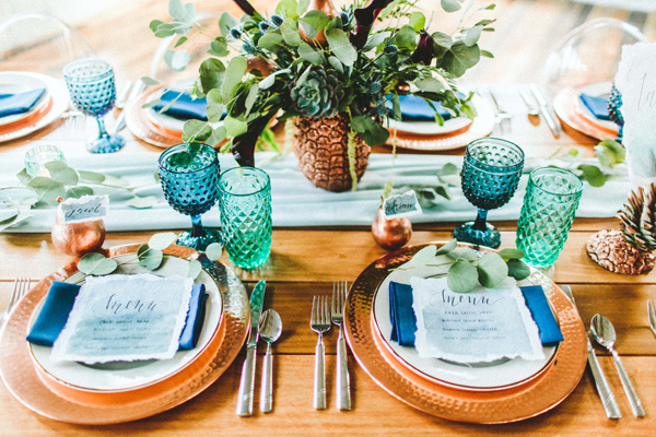 place setting - photo by Giving Tree Photography http://ruffledblog.com/copper-fruit-wedding-inspiration