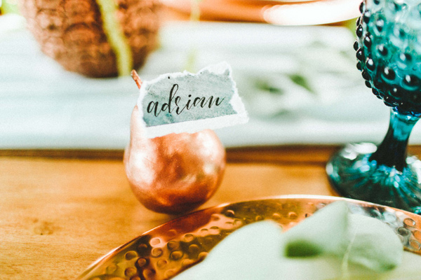 Copper wedding accents - photo by Giving Tree Photography http://ruffledblog.com/copper-fruit-wedding-inspiration