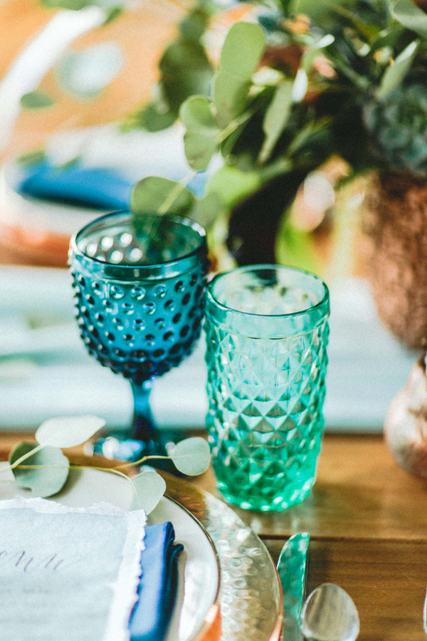 colorful glassware - photo by Giving Tree Photography http://ruffledblog.com/copper-fruit-wedding-inspiration