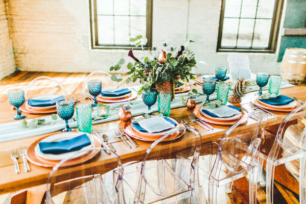 tablescape - photo by Giving Tree Photography http://ruffledblog.com/copper-fruit-wedding-inspiration