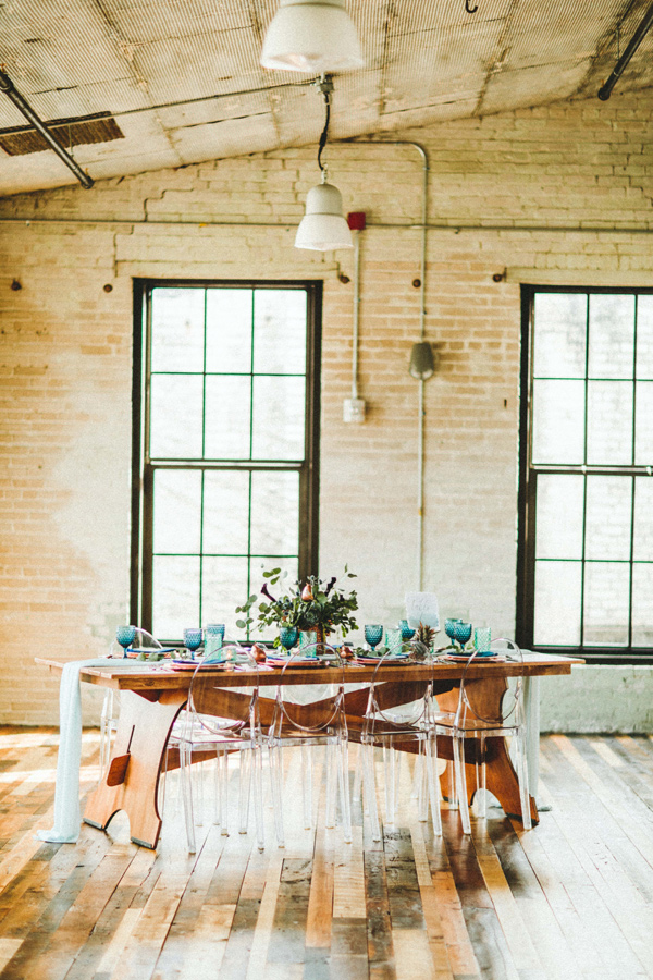 modern wedding reception - photo by Giving Tree Photography http://ruffledblog.com/copper-fruit-wedding-inspiration