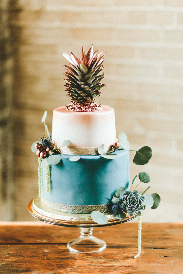 teal and copper cake with pineapple topper - photo by Giving Tree Photography http://ruffledblog.com/copper-fruit-wedding-inspiration
