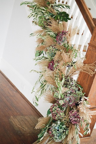 floral and wheat stair garland | Jess Watson Photography