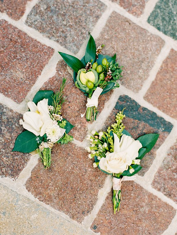 wedding boutonnieres - photo by Erin Wilson Photography and Angela Sostarich Photography http://ruffledblog.com/southern-oak-tree-wedding-inspiration