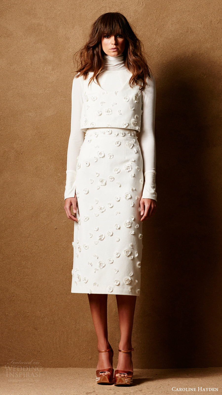 caroline hayden bridal 2017 long sleeve turtleneck skirt vest (ch022 ch023 ch024 ivory) mv