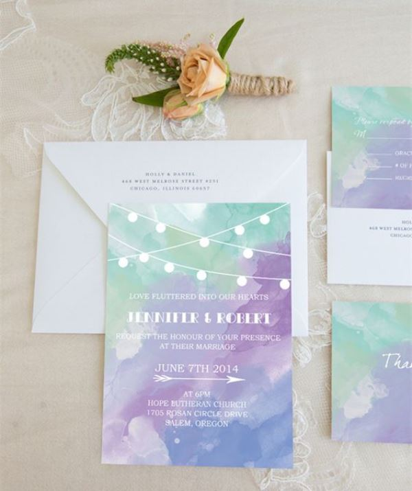 Purple And Green Watercolor Wedding Invitations
