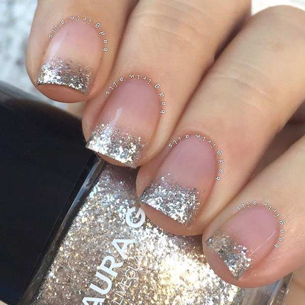 Gold Glitter French Tips