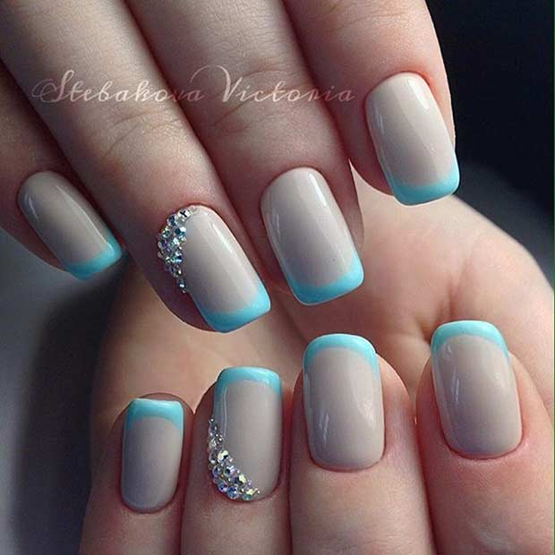 Light Blue French Tip Nails