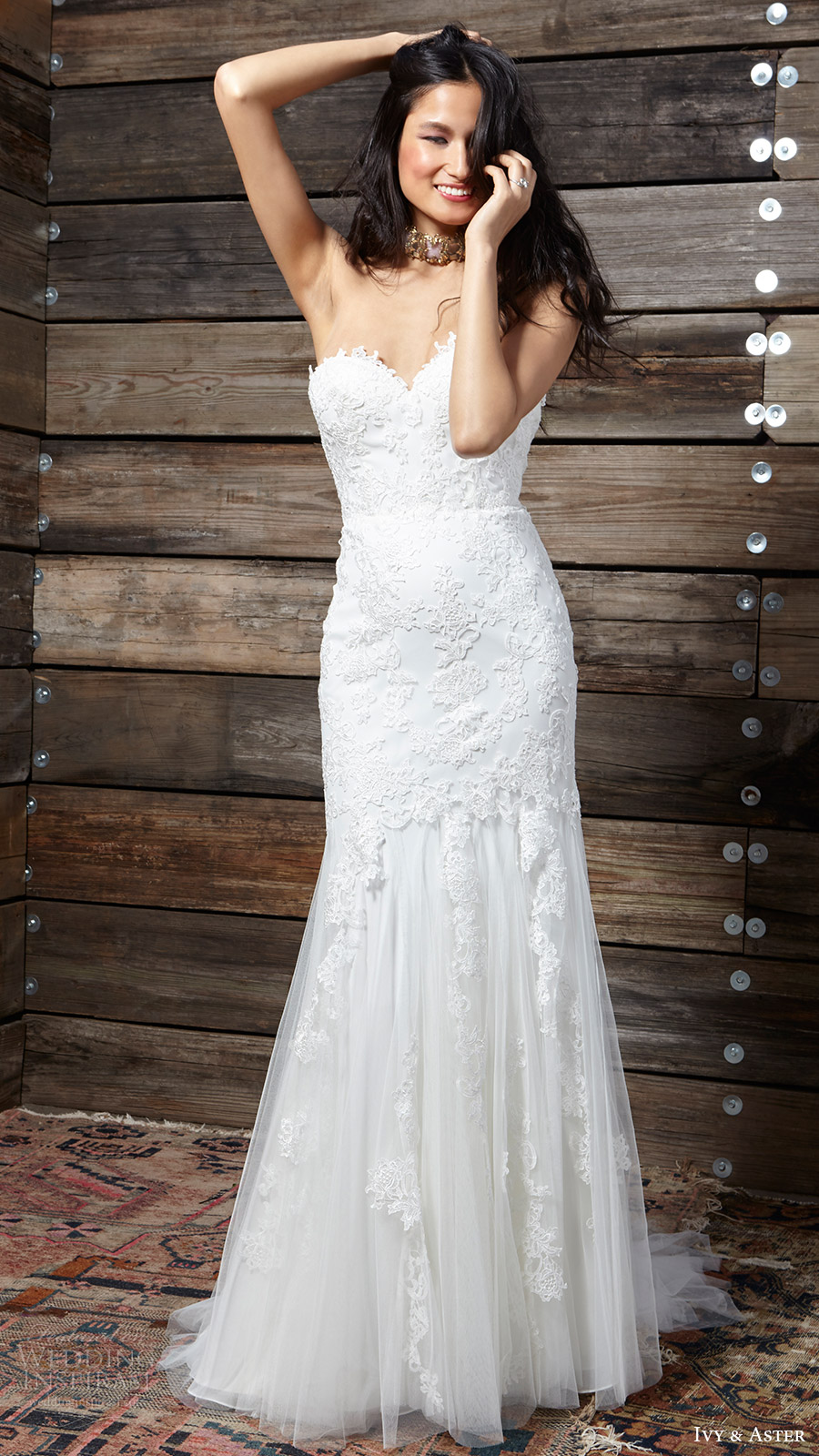 ivy aster bridal spring 2017 strapless sweetheart trumpet lace wedding dress (liberty) fv