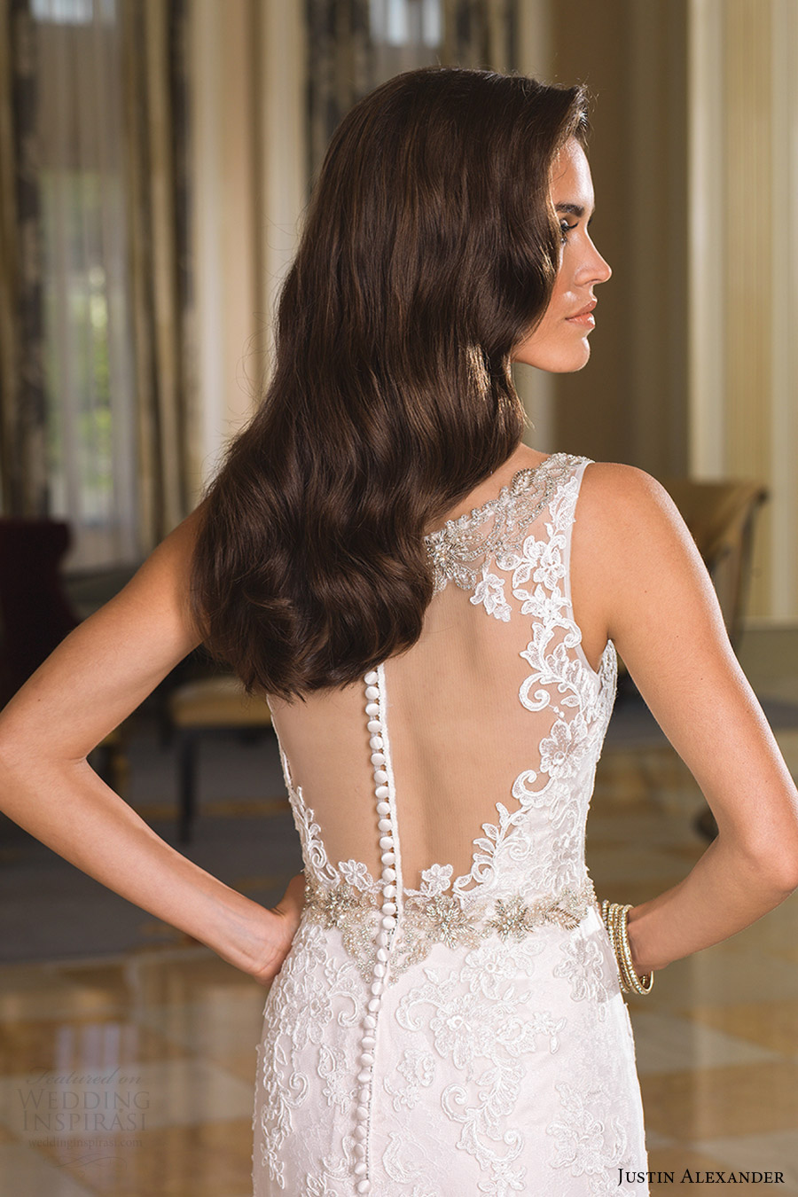 justin alexander bridal fall 2016 sleeveless beaded straps trumpet wedding dress (8853) zbv sheer back elegant