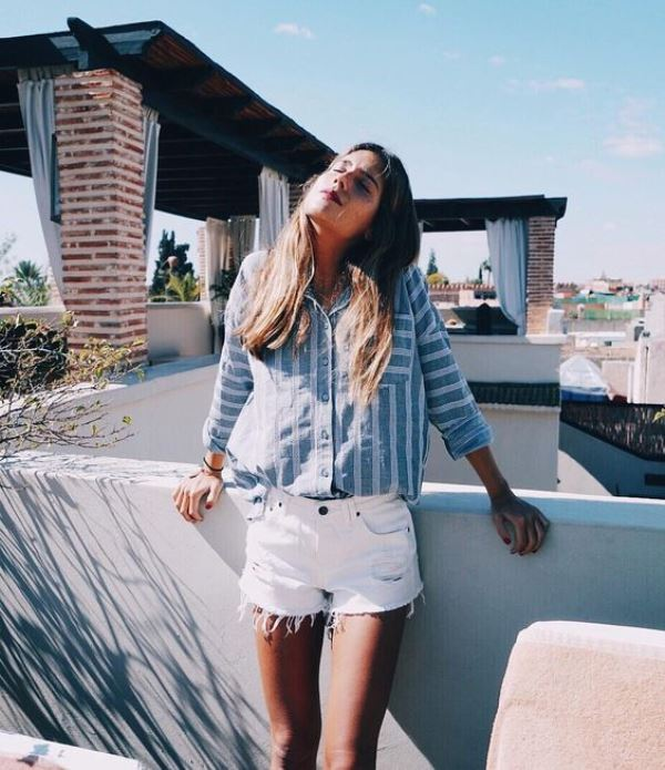 White Frayed Denim Shorts With Striped Button Down Shirt