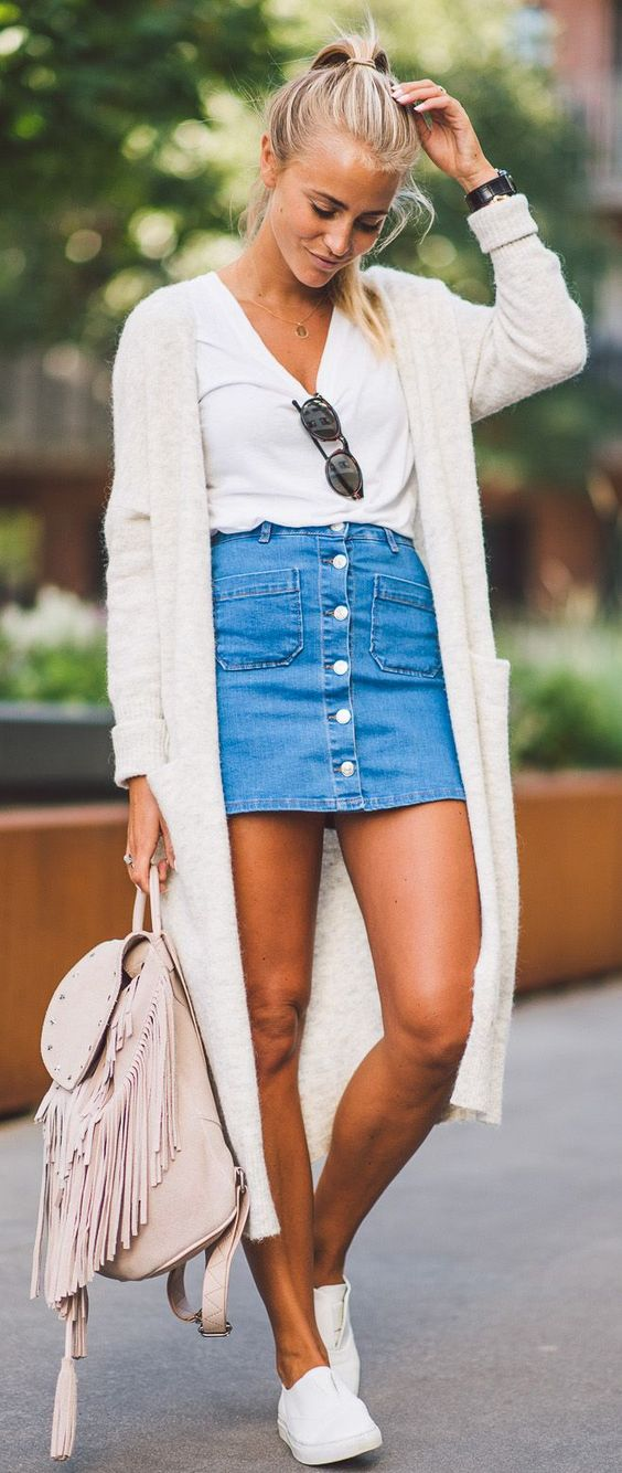 denim front button skirt with a white top and cardigan