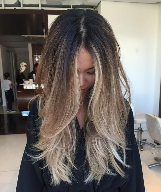 long layered brown to blond hair