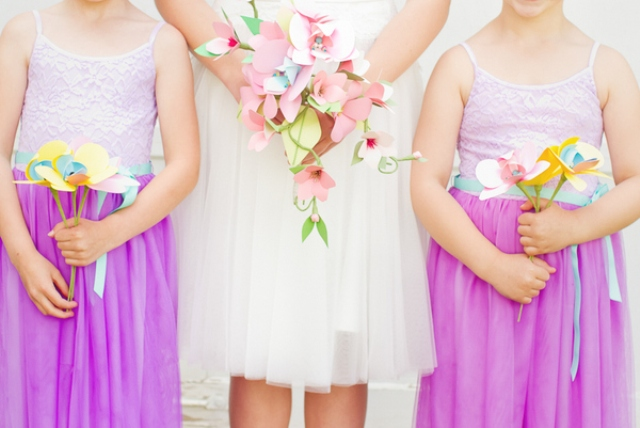 bold paper flowers for bouquets