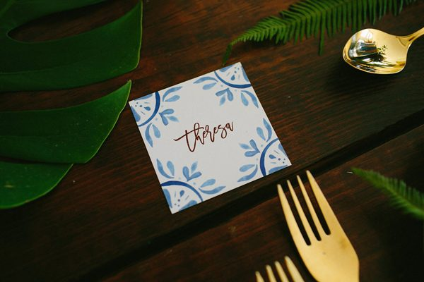 wedding calligraphy - photo by Amber Vickery Photography http://ruffledblog.com/tropical-cuban-wedding-inspiration