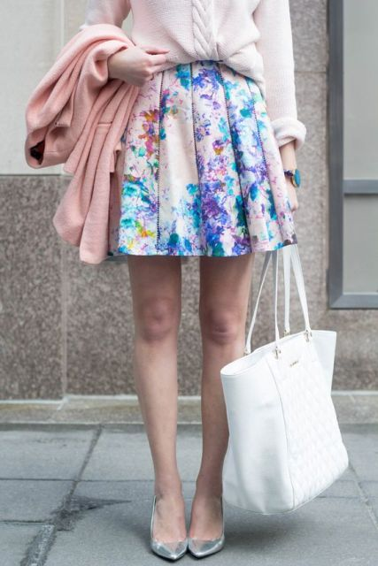 Watercolor mini skirt