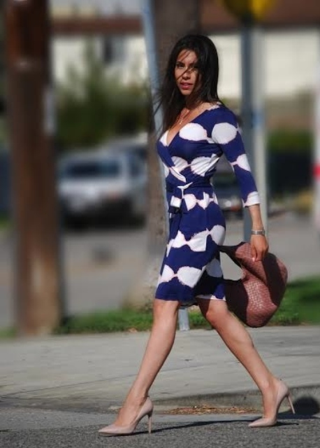Printed wrap dress outfit